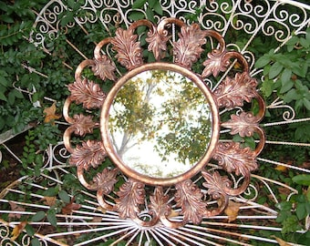 ROUND Mirror ,ORNATE Decorative Leaf  Design~ Faux Finish~ Buy As Shown or Choose Color & Finish~28 Inches Round