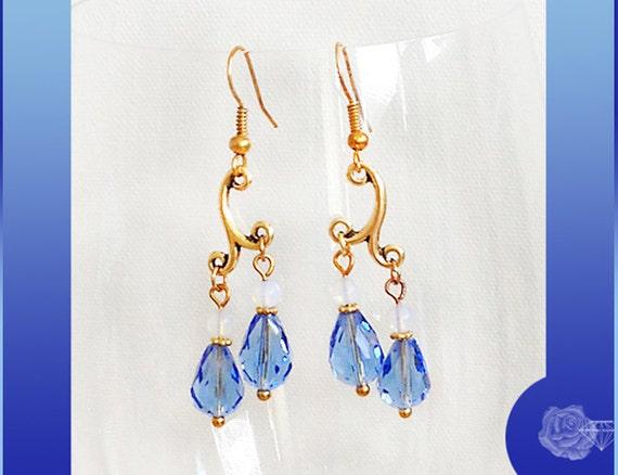 Hook Chandelier Earrings Light Sapphire AAA Crystal Teardrops Opalite TierraCast Gold Pewter Findings Choose Plated or 14K Gold-Filled Hooks