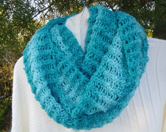 Cozy and soft  Infinity scarf neck warmer in shades of turquoise
