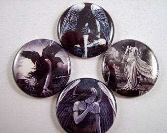 """Angel Magnets,  Angel Cabochons, Angel Pins, Dark Angel, Gothic Wedding,  Mystery, 1"""" Inch Flat Back Buttons, Pins, or Magnets 12 ct."""
