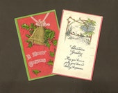 Christmas Bells PAIR of Lightly Embossed Vintage Christmas Postcards with Cheerful Greetings 1908