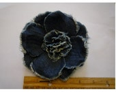 "4.5"" Frayed Blue Denim Opened Peony - Hand-Made in USA"