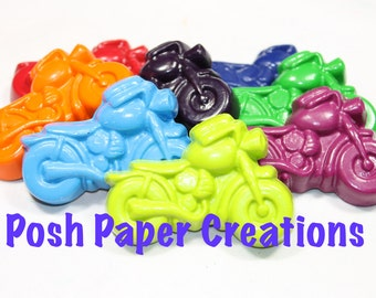 30 motorcycle crayons - individually wrapped in cello bag tied with ribbon