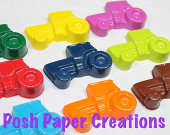 20 sets of 2 tractor crayons - in cello bag tied with ribbon - 40crayons - choose your colors