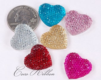 20mm 12pcs Rhinestone Sparkle Heart Flatback Resin Cabochons - Choose Your Colors
