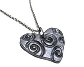 Heart Necklace - Swirls, Gifts for Her, Ready to Ship, Small Gift Box, Womens, Jewelry, Hearts, Valentine's Day, Birthday, Love, Gifts, Gray