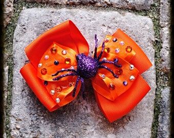 Swarovski Crystal Halloween Orange Spider Bow Clip