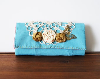 Light Aqua Blue Linen Trifold Clutch Wallet with Doily, Rosettes, and Butterfly Pendant
