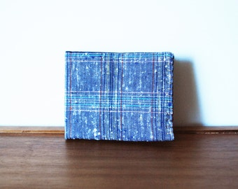 Multicolored Plaid Linen Mens Bifold Wallet with Navy Interior