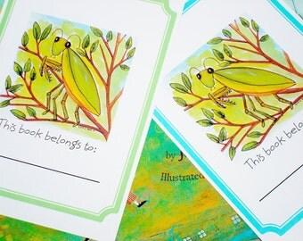 Book Plates Praying Mantis Original Design