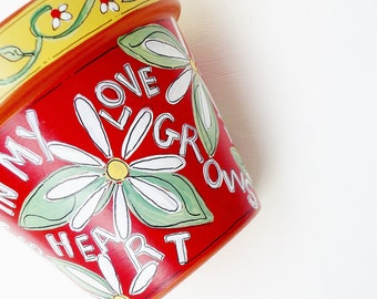 """Hand Painted Pot 4 InchTerracotta Pot-"""" Love Grows""""- Made to Order"""