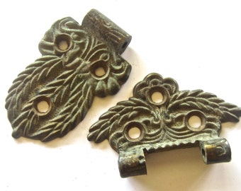 Old Ice Box Hinge Parts - Cast Brass Hardware - Mossy Patina