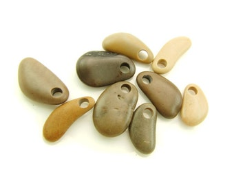 Top Drilled Beach Stones -Asymmetric Medium Pebbles- 9 psc- Organic Rare Beads Big Hole for Jewelry Crafts DIY