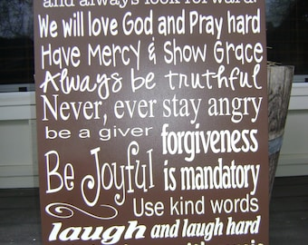In This House We Will,Family Rules Sign, Personalized, God,.28x18 wood painted sign