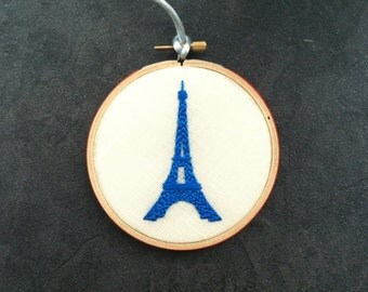 French Blue Eiffel Tower. hand embroidered. hoop art. home decor. francophile. wall decoration. wall wear. housewarming. handmade by mlmxoxo