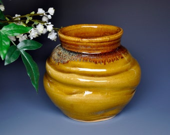 Soto Amber Pottery Flower Vase Handmade A
