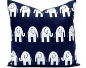 Navy Blue Pillow, Nursery Pillow, Nursery Decor, Elephant Pillow, Navy Blue Cushion Cover, Animal Pillow Cover, Decorative Throw Pillow