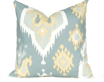 Gray Pillow Cover - Decorative Throw Pillow Cover - Gray and Gold Ikat - Gray Cushion Cover - All Sizes Blue Gray Gold Yellow