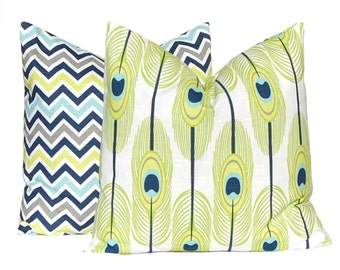 Decorative Throw Pillow Covers - Pair of Two - Navy Blue and Lime Green - Feathers and Chevron Cushion Covers - Toss Pillow - All Sizes