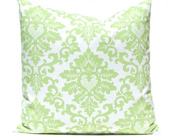 Kiwi Green Pillows, Damask Pillow Covers, Decorative Throw Pillow Covers, Green Cushion Covers, Kiwi Green Accent Pillow, Polka Dots Damask