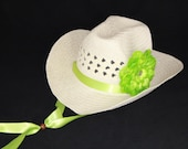 Ladies Cowgirl Hat - Womens Cowboy Hat - Woman Western Hat - Natural / Ivory and Lime Green Hat  - LCB10