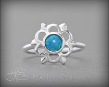 OPAL FLOWER RING- sterling, gemstone ring, opal flower, color opal, cocktail ring, 6mm opal