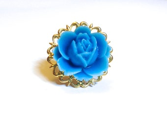Adjustable Gold Tone Filigree Ring Base with Sky Blue Lotus Flower