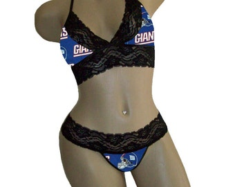 Sexy New York Giants NFL Lingerie Black Lace Cami Bralette Top and Matching G-String - B Cup Top, M Panty - Ready to Ship