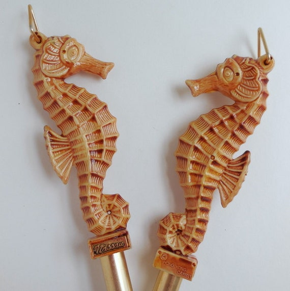 Seahorse Deluxe Fork and Spoon Serving Set Nassau 1950s