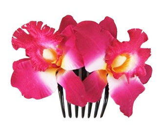 Vibrant Pink Orchid flower Hair Comb Wedding