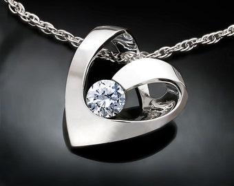 heart necklace, CZ necklace, wedding necklace, silver necklace, valentine necklace, Argentium silver, modern necklace - 3401