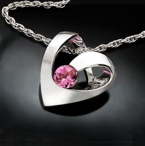 heart necklace, pink topaz, wedding necklace, valentine gift, Argentium silver, modern design, heart jewelry - 3401