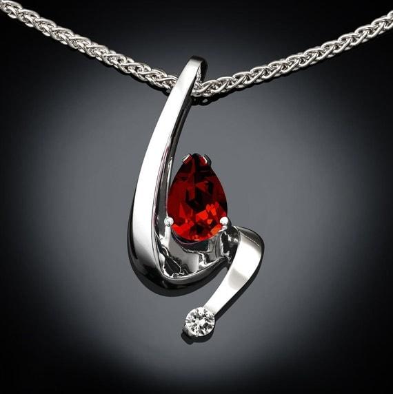 garnet necklace, garnet pendant, Argentium silver, January birthstone, white sapphire, red gemstone, gemstone pendant, fine jewelry 3380