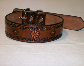Leather Dog Collar with Scrollwork and Flower Design - Long Length