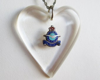 Vintage 40s Royal Canadian Air Force Pilot Aviator Lucite Heart Sweetheart Pendant Necklace