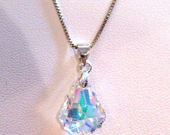 Pendant Necklace Swarovski AB Crystal Briolette Sterling Silver Chain