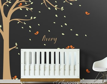 Tree Wall Decal with Falling Leaves, Birds, and Baby Name Personalized Floor-to-Ceiling Wall Decal - WAL-2107C