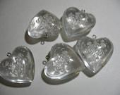 Five Vintage Lucite Puffy Heart Pendants