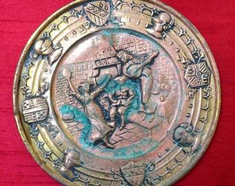 Vintage Brass Platter with Natural Verdigris