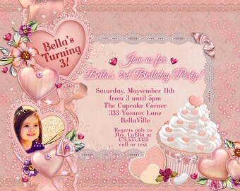 Valentine Birthday Party, Valentine Card, Photo Birthday Invitation