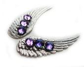 Silver Guardian Angel Wing Earrings