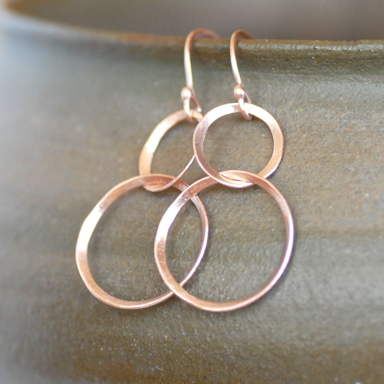rose gold ribbon earrings double hoop dangle gold earrings. Black Bedroom Furniture Sets. Home Design Ideas