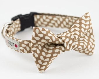 Mod Floral Dog Bow Tie Collar - Brown