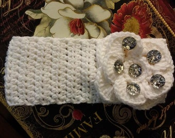 White Crocheted Head Band with Sparkling Bling
