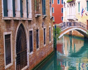 Original Fine Art Photograph Venice Italy Canal and Bridge Vibrant Color 8x10