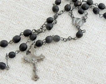 FRENCH vintage black french seed rosary FREE SHIPPING