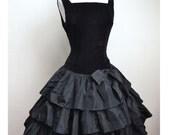 1950s Black velvet & taffeta party dress, drop waist / tiered skirt - XS S HALLOWEEN