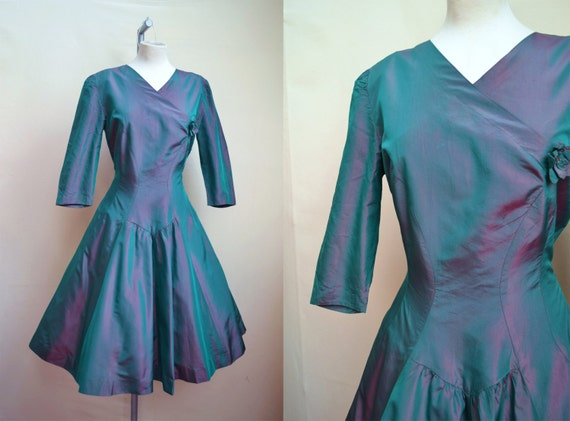 1950s Iridescent Silk Party Dress