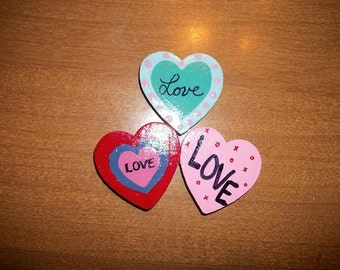 Magnets - Love Hearts (set of 3)  READY TO SHIP!
