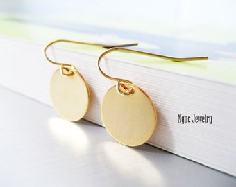 Simple Gold Disc Earrings, Gold Coin Earrings, Everyday Earrings, Petite Gold Disk Earrings, Jewelry Gift Under 15 Dollars